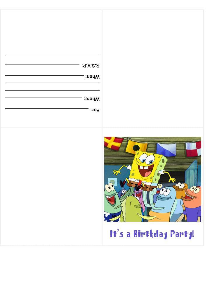 Spongebob Squarepants party invitation :